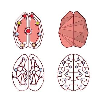 Zestaw ikon kolorowy mózg