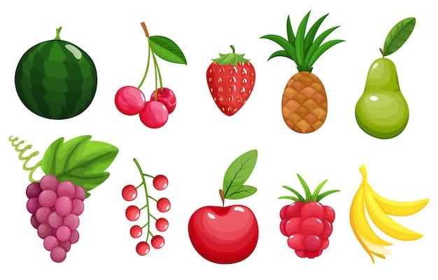 Zestaw ikon kolorowych owoców jabłko, gruszka, truskawka, malina, banan, arbuz, ananas, winogrona, wiśnia, czerwone porzeczki.