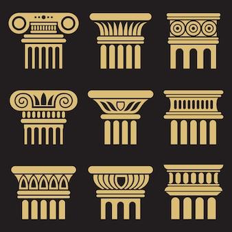 Zestaw ikon kolumna starożytnej architektury