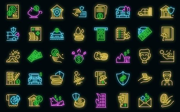 Zestaw ikon kompensacji wektor neon