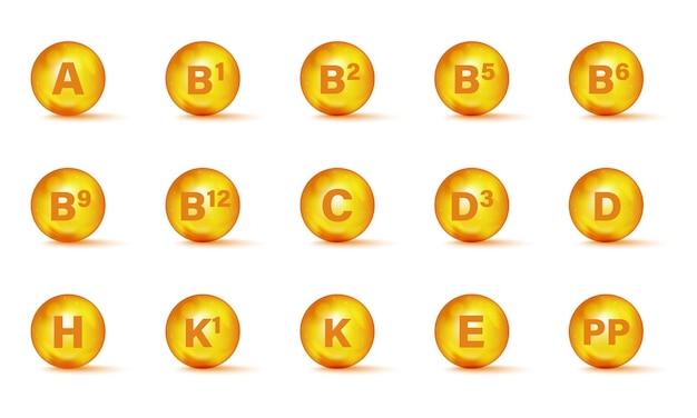 Zestaw ikon kompleks multi witaminy. suplement multiwitaminowy. witamina a, grupa b b1, b2, b3, b5, b6, b9, b12, c, d, d3, e, k, h, k1, pp. niezbędny kompleks witamin. koncepcja zdrowego życia