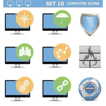 Zestaw ikon komputera na białym tle