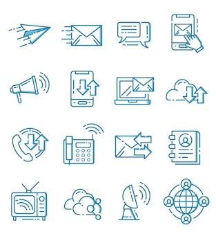 Zestaw ikon komunikacji w stylu ouline