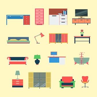 Zestaw ikon koncepcja aplikacji sieci web nowoczesne meble kreatywne płaski styl