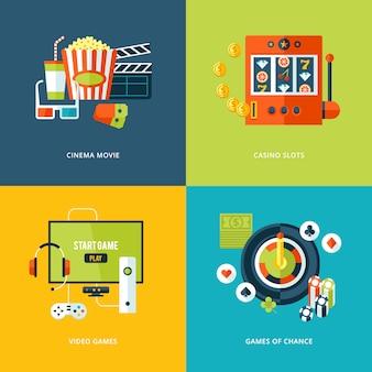 Zestaw ikon koncepcja dla rodzajów rozrywki. ikony filmów kinowych, automatów do gier kasynowych, gier wideo, gier losowych.