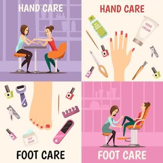 Zestaw ikon koncepcja manicure