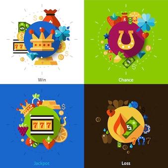 Zestaw ikon koncepcja maszyna do gry