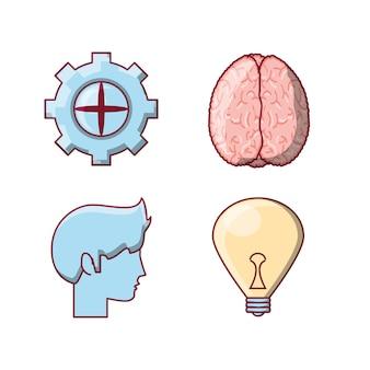 Zestaw ikon koncepcja mózgu