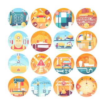 Zestaw ikon koncepcji budowy. zbiór ilustracji płaskie koło. nowoczesny, kolorowy styl.