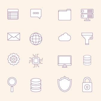 Zestaw ikon koncepcji dużych danych