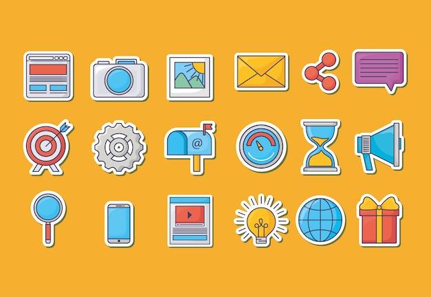 Zestaw ikon koncepcji marketingu e-mail
