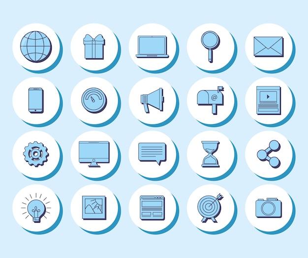 Zestaw ikon koncepcji mediów społecznych