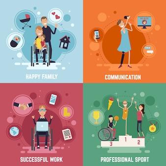 Zestaw ikon koncepcji osób niepełnosprawnych