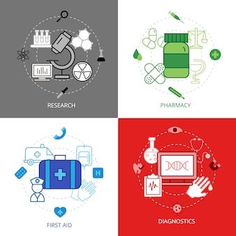 Zestaw ikon koncepcji projektu medycznego