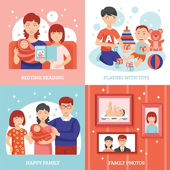 Zestaw ikon koncepcji rodziny