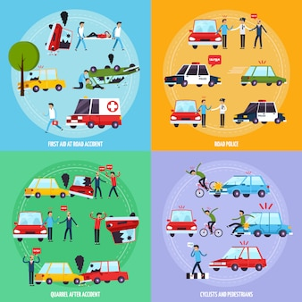 Zestaw ikon koncepcji wypadku drogowego