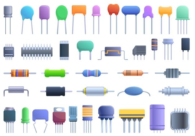 Zestaw ikon kondensatora. kreskówka zestaw ikon wektorowych kondensatora