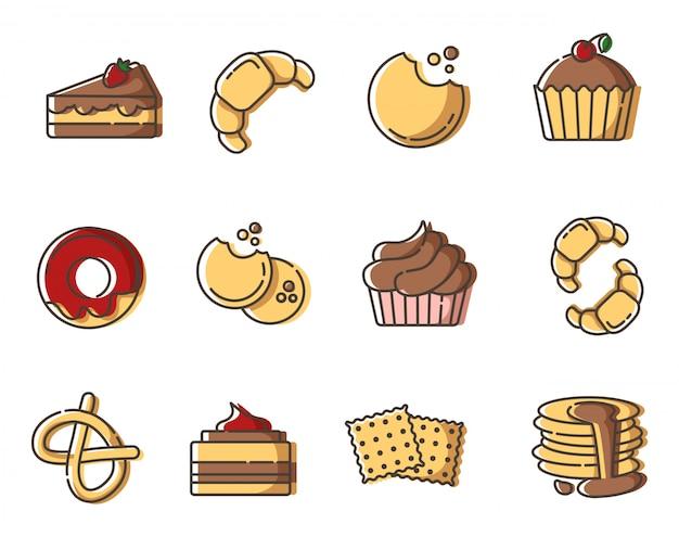 Zestaw ikon konspektu, piekarnia i słodki smak, deser - rogalik, ciasto, ciastka, pączki, bajgiel