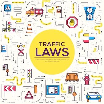 Zestaw ikon konspektu z sygnalizacją świetlną i kodem autostrady. cienka linia miejski znak drogowy transport