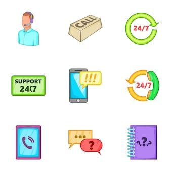 Zestaw ikon konsultacji, stylu cartoon