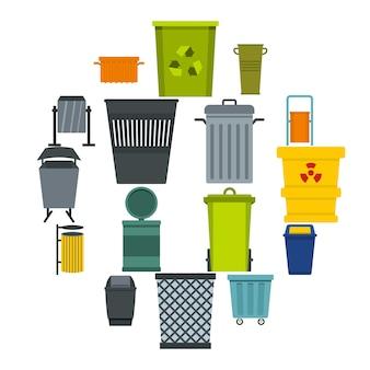 Zestaw ikon kontenera na śmieci w stylu płaski