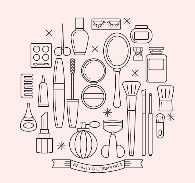 Zestaw ikon kontur cienka linia piękna i kosmetyków