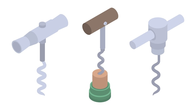 Zestaw ikon korkociągiem. izometryczny zestaw ikon wektorowych korkociąg do projektowania stron internetowych na białym tle