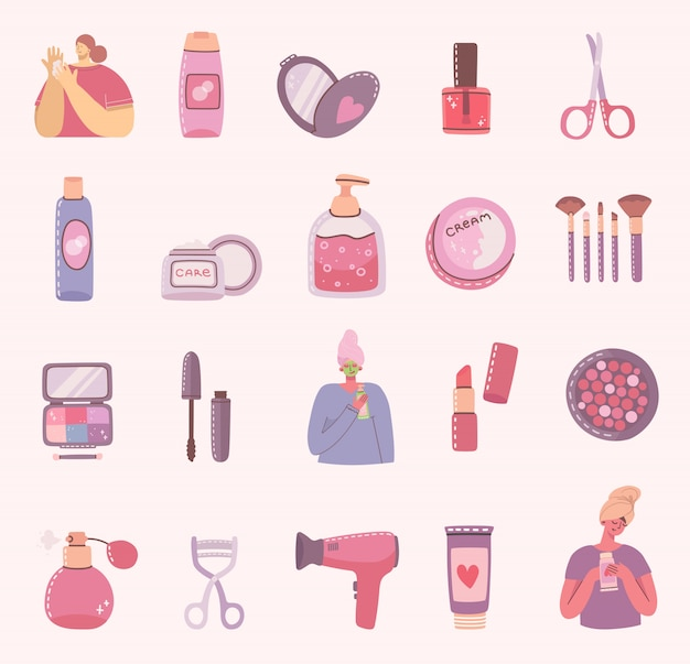 Zestaw ikon kosmetyków i produktów do pielęgnacji ciała dla makijażu w pobliżu dziewcząt. nowoczesna ilustracja.