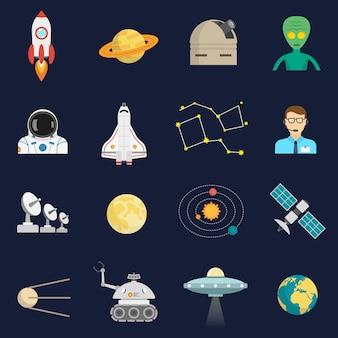 Zestaw ikon kosmos kosmos płaski