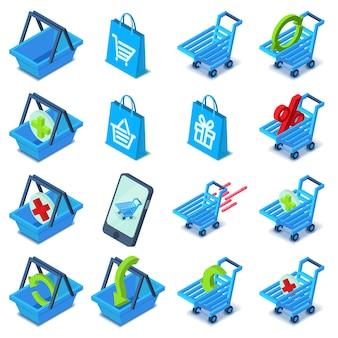 Zestaw ikon koszyka na zakupy. izometryczna ilustracja 16 wózek na zakupy wektorowych ikon dla sieci