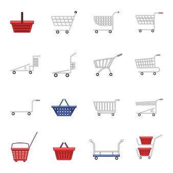 Zestaw ikon koszyka na zakupy