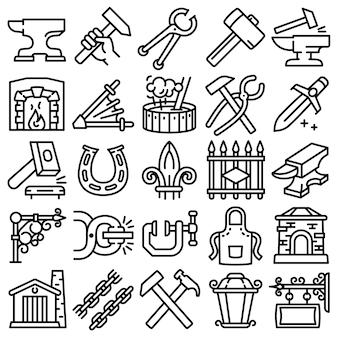 Zestaw ikon kowadła. zarys zestaw ikon wektorowych kowadło na białym tle