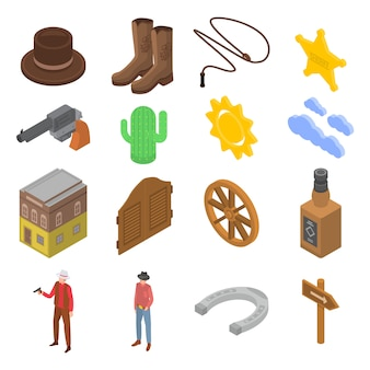 Zestaw ikon kowboj, izometryczny styl