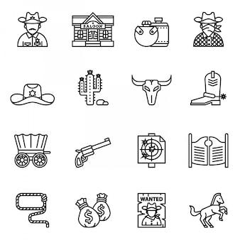 Zestaw ikon kowboj, western, dziki zachód. cienki zapas w stylu linii.