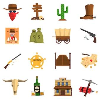 Zestaw ikon kowbojem