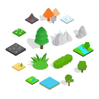 Zestaw ikon krajobrazu, styl izometryczny