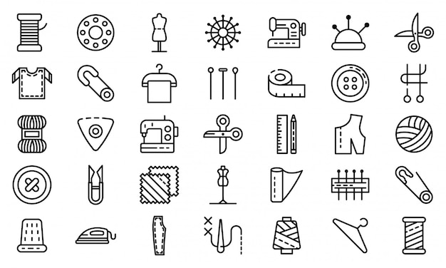 Zestaw ikon krawiec, styl konspektu