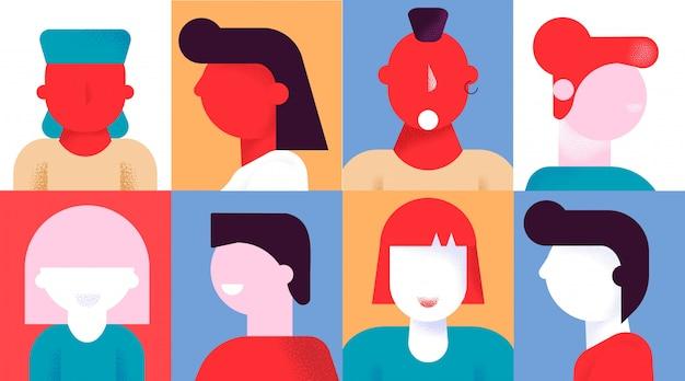 Zestaw ikon kreatywnych avatar różnorodnych ludzi emocji
