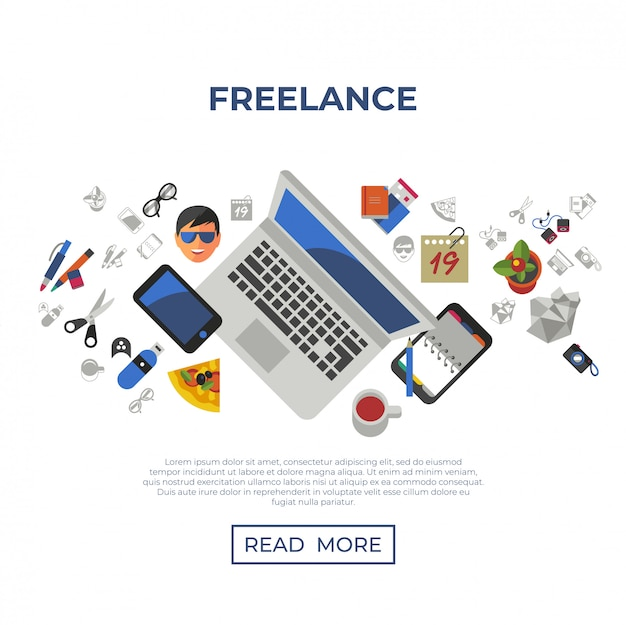 Zestaw ikon kreatywnych pracy freelance