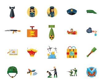 Zestaw ikon kreatywnych wojny i terroru