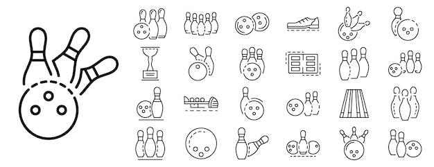 Zestaw ikon kręgle, styl konspektu