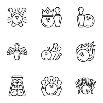 Zestaw ikon kręgle, styl konturu