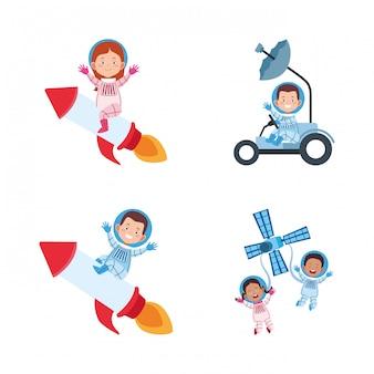 Zestaw ikon kreskówek astronautów na pojazdach kosmicznych
