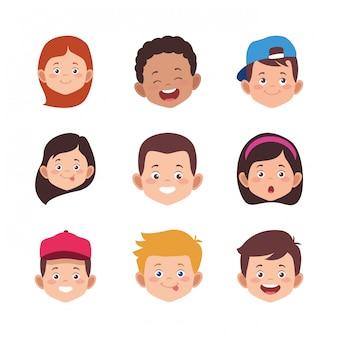 Zestaw ikon kreskówek dzieci twarze uśmiecha się