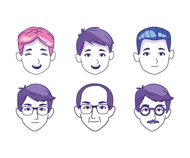 Zestaw ikon kreskówek mężczyzn twarze w różnym wieku
