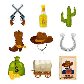 Zestaw ikon kreskówek na temat dzikiego zachodu. wektorowe ilustracje odizolowywać