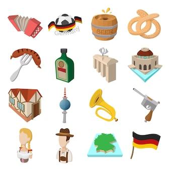 Zestaw ikon kreskówek niemcy dla sieci web i urządzeń mobilnych