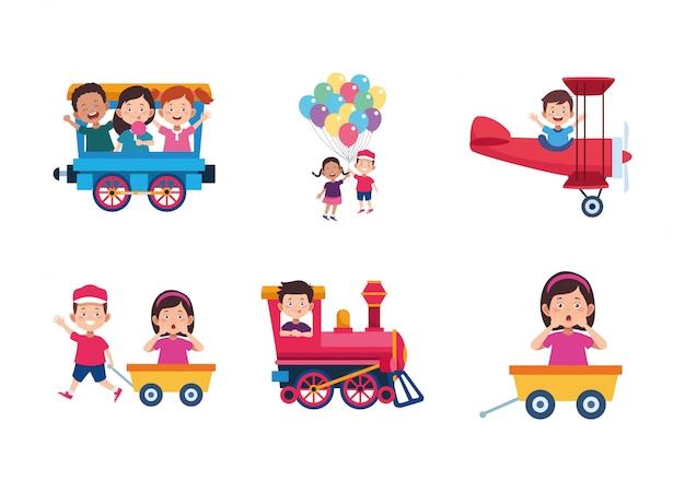 Zestaw ikon kreskówek szczęśliwych dzieci zabawy