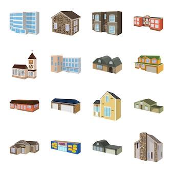 Zestaw ikon kreskówka budynku. dom biznesu ilustracji.