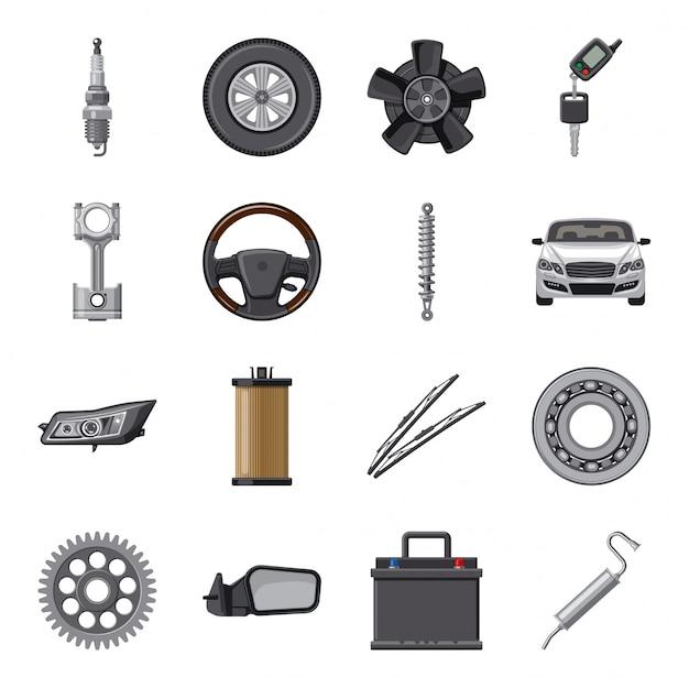 Zestaw ikon kreskówka części samochodowe.
